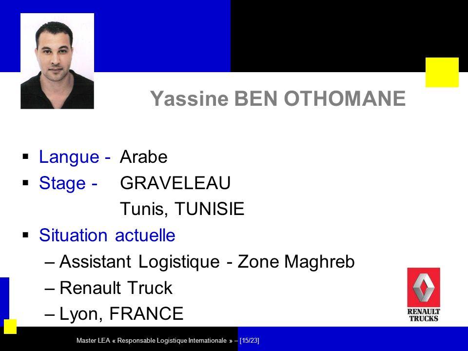 Yassine BEN OTHOMANE Langue - Arabe Stage - GRAVELEAU Tunis, TUNISIE