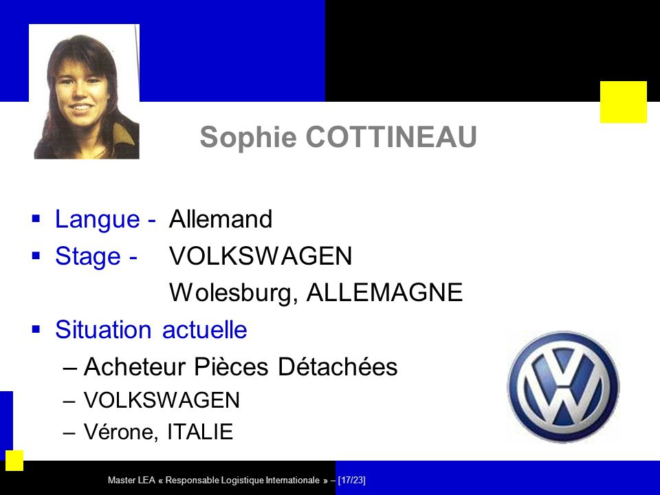 Sophie COTTINEAU Langue - Allemand Stage - VOLKSWAGEN