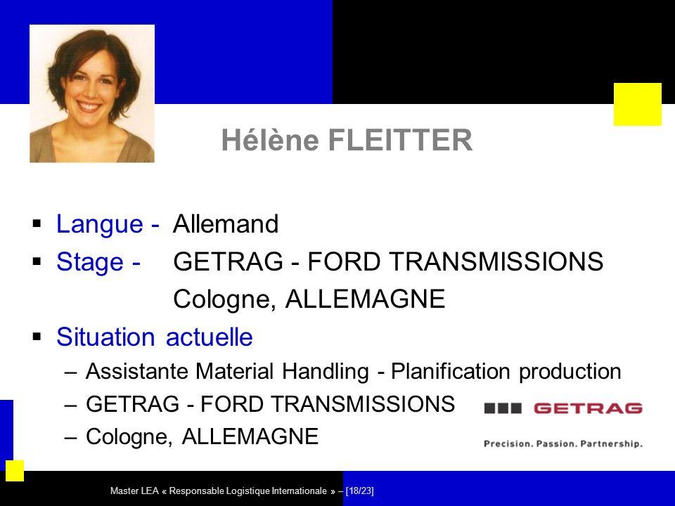Hélène FLEITTER Langue - Allemand Stage - GETRAG - FORD TRANSMISSIONS