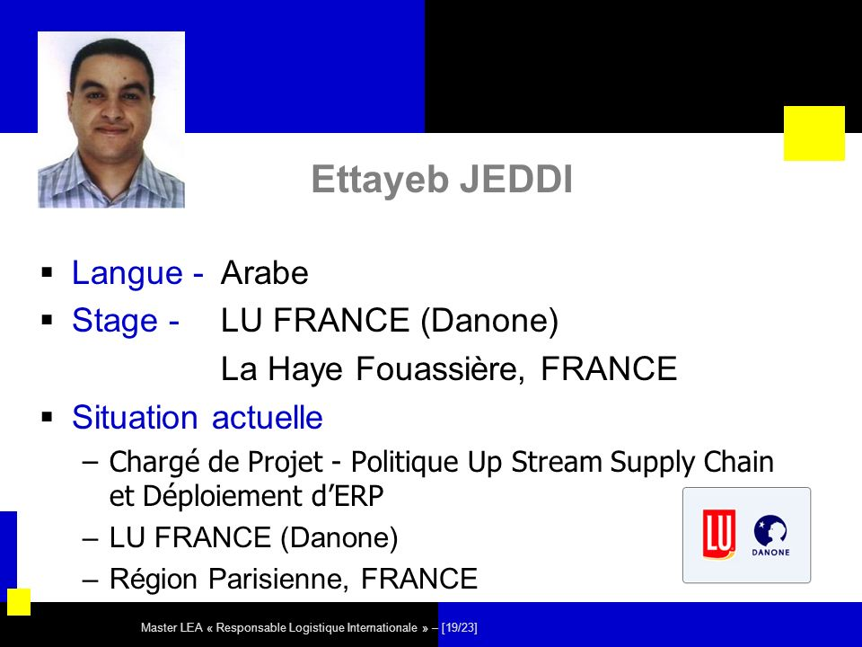 Ettayeb JEDDI Langue - Arabe Stage - LU FRANCE (Danone)