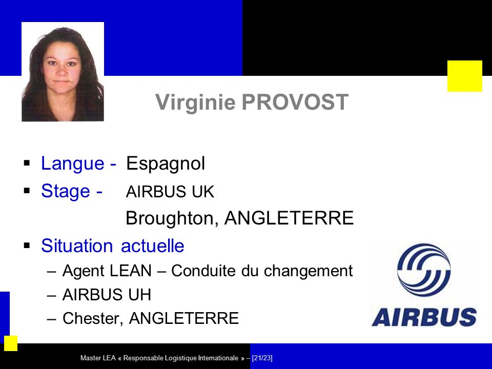 Virginie PROVOST Langue - Espagnol Stage - AIRBUS UK