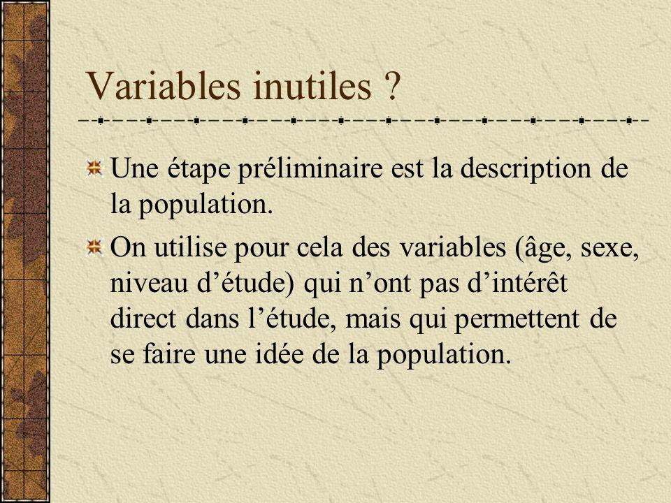 Variables inutiles Une étape préliminaire est la description de la population.