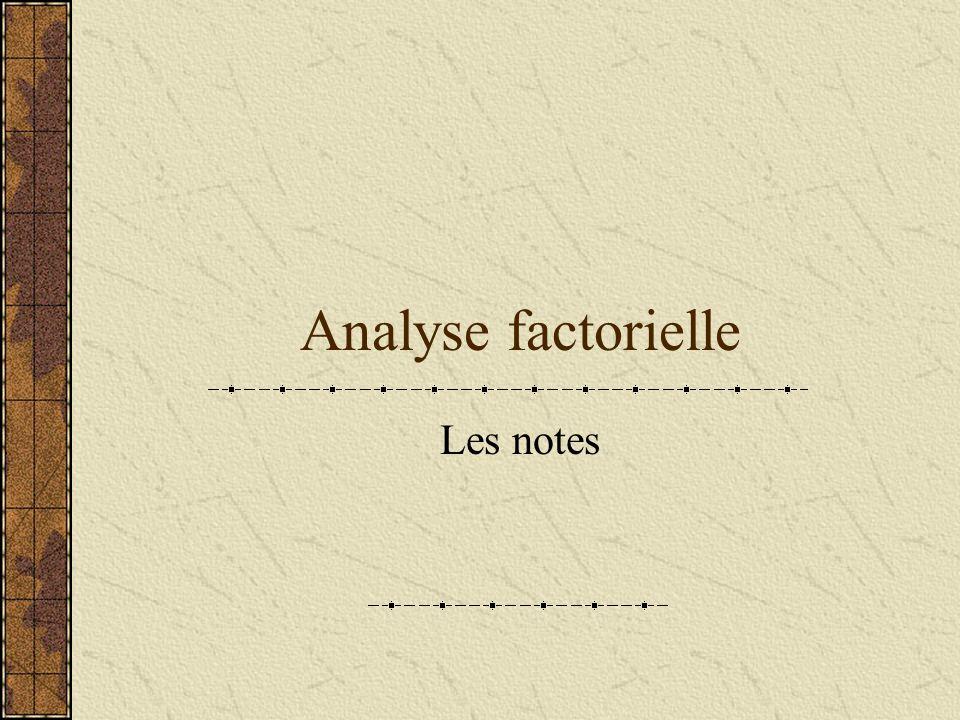 Analyse factorielle Les notes
