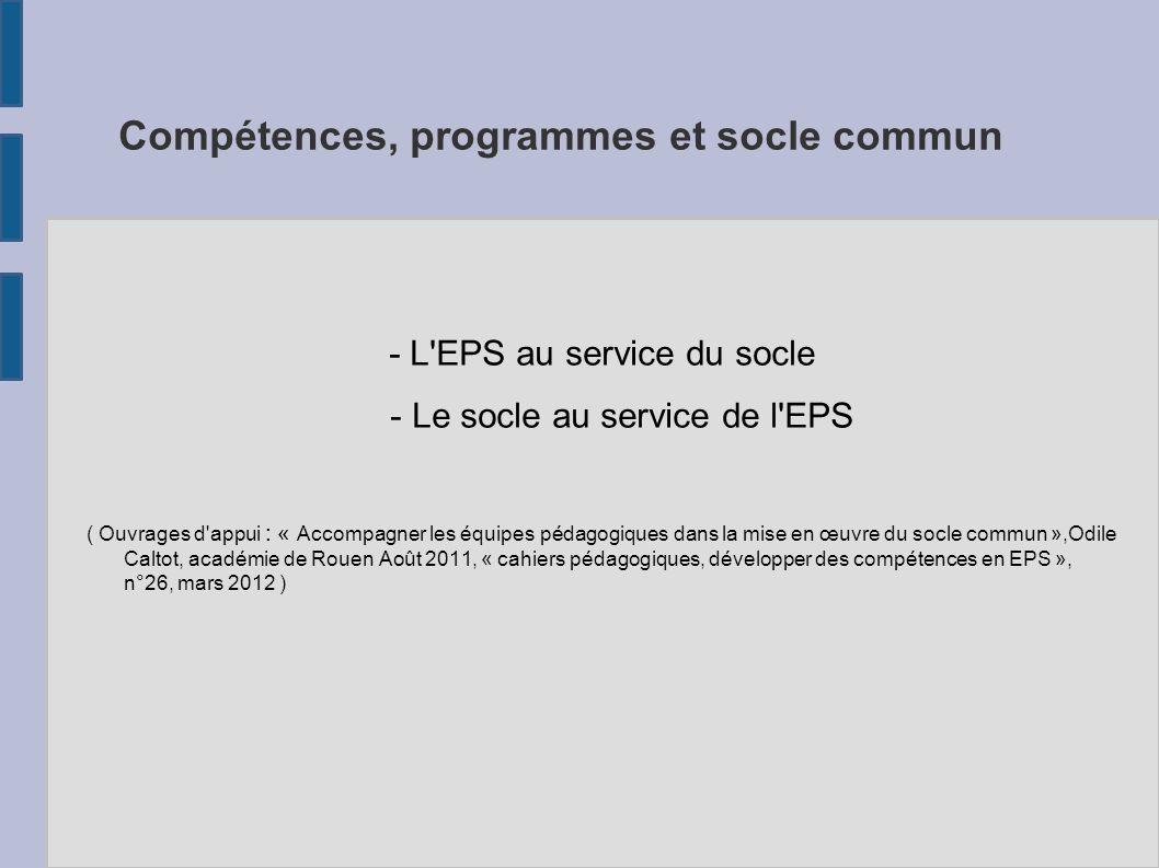 Compétences, programmes et socle commun