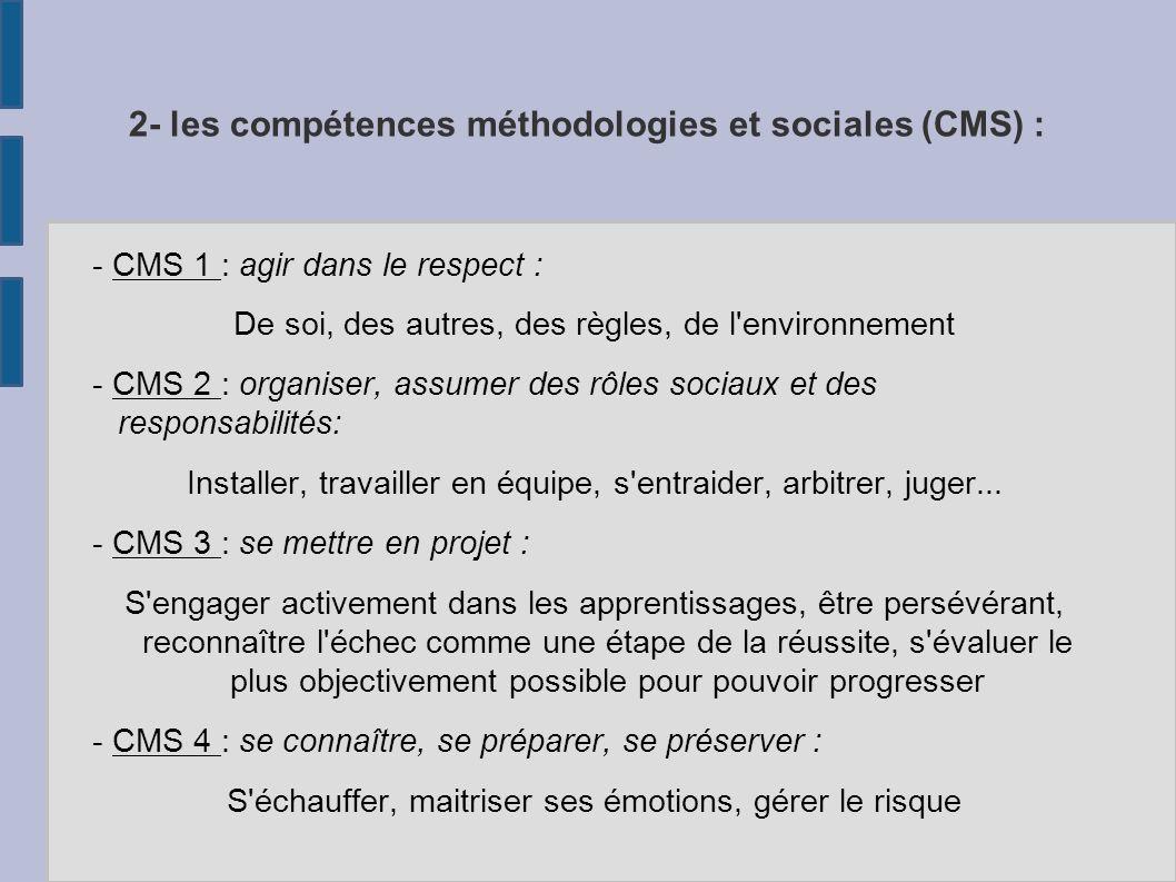 2- les compétences méthodologies et sociales (CMS) :
