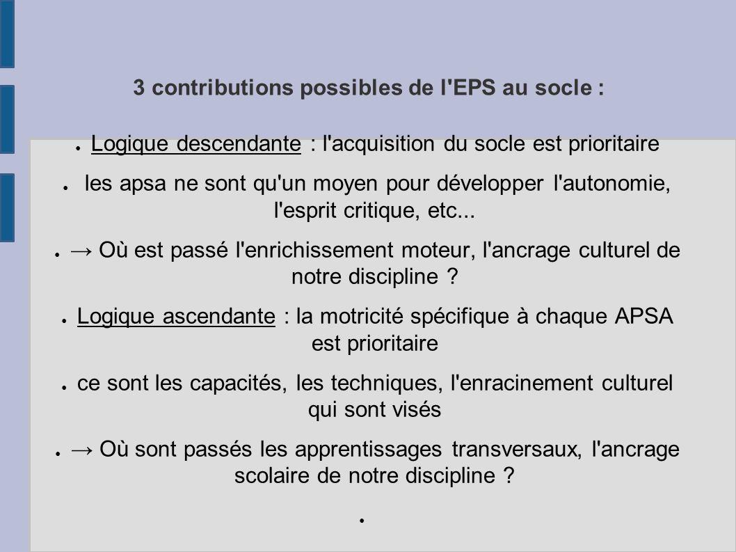 3 contributions possibles de l EPS au socle :