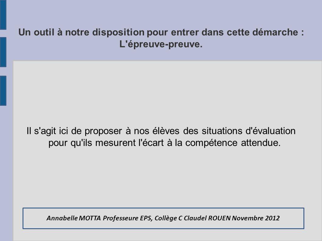 Annabelle MOTTA Professeure EPS, Collège C Claudel ROUEN Novembre 2012