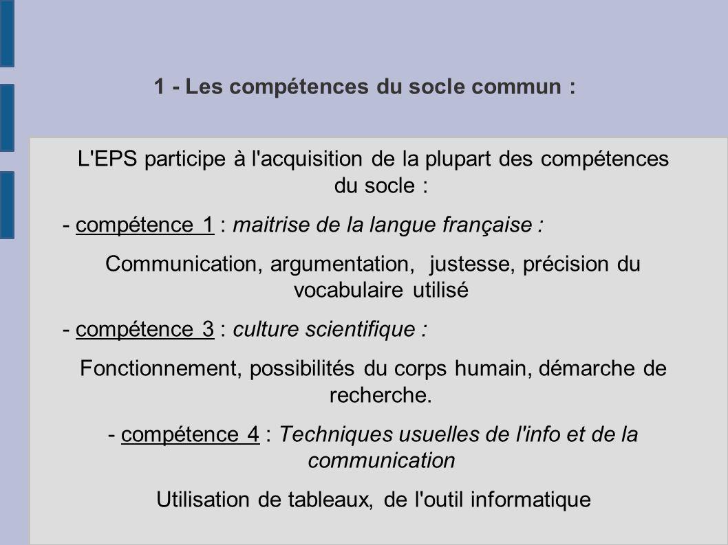 1 - Les compétences du socle commun :