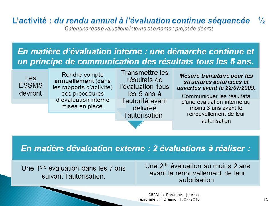 En matière dévaluation externe : 2 évaluations à réaliser :