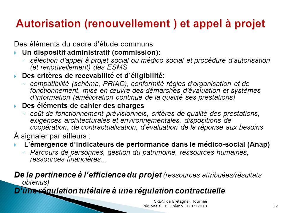 Autorisation (renouvellement ) et appel à projet