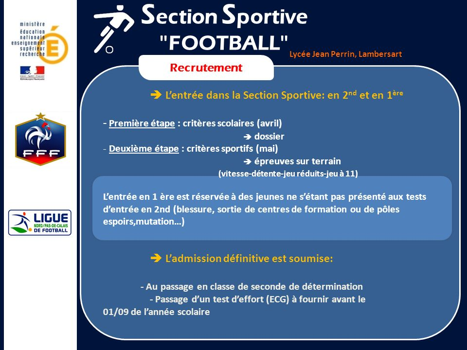 Section Sportive FOOTBALL Recrutement
