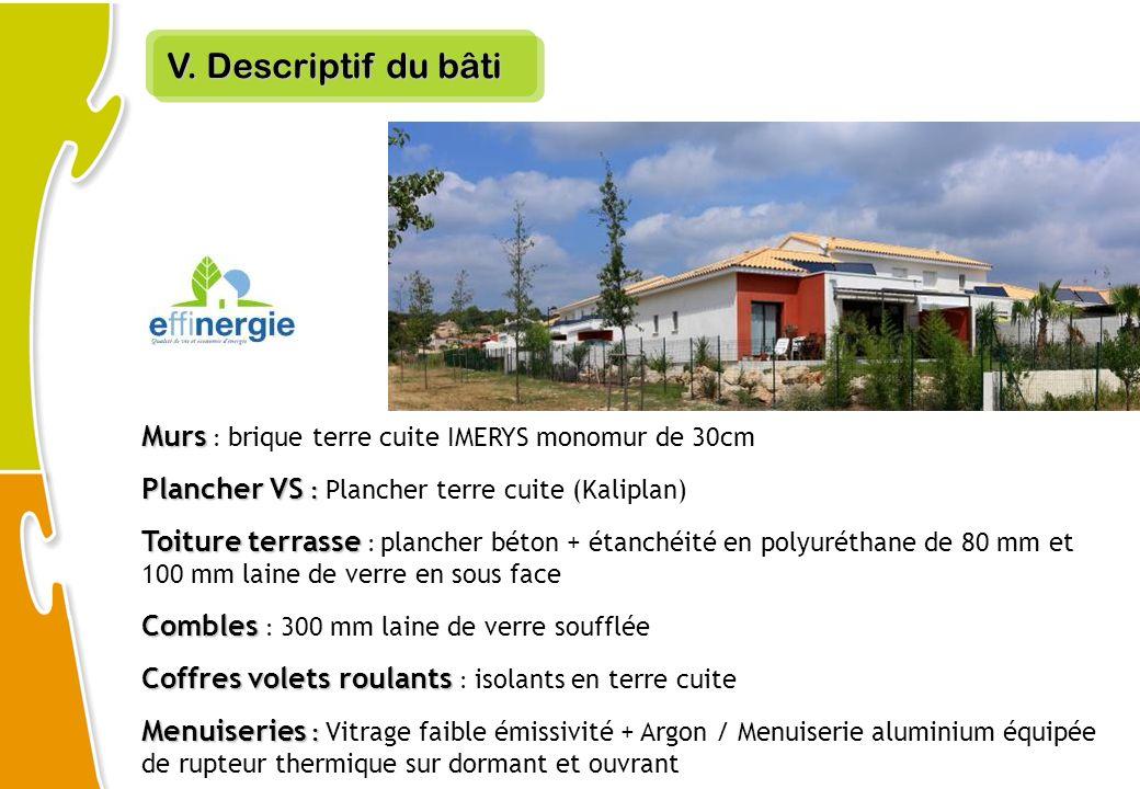 V. Descriptif du bâti Murs : brique terre cuite IMERYS monomur de 30cm