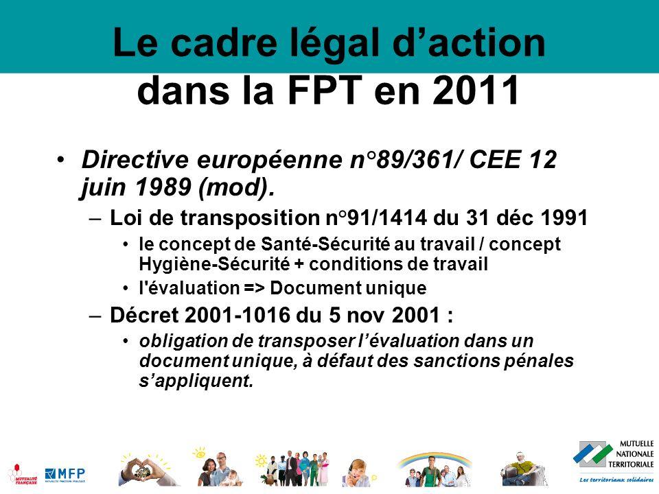 Le cadre légal d'action dans la FPT en 2011