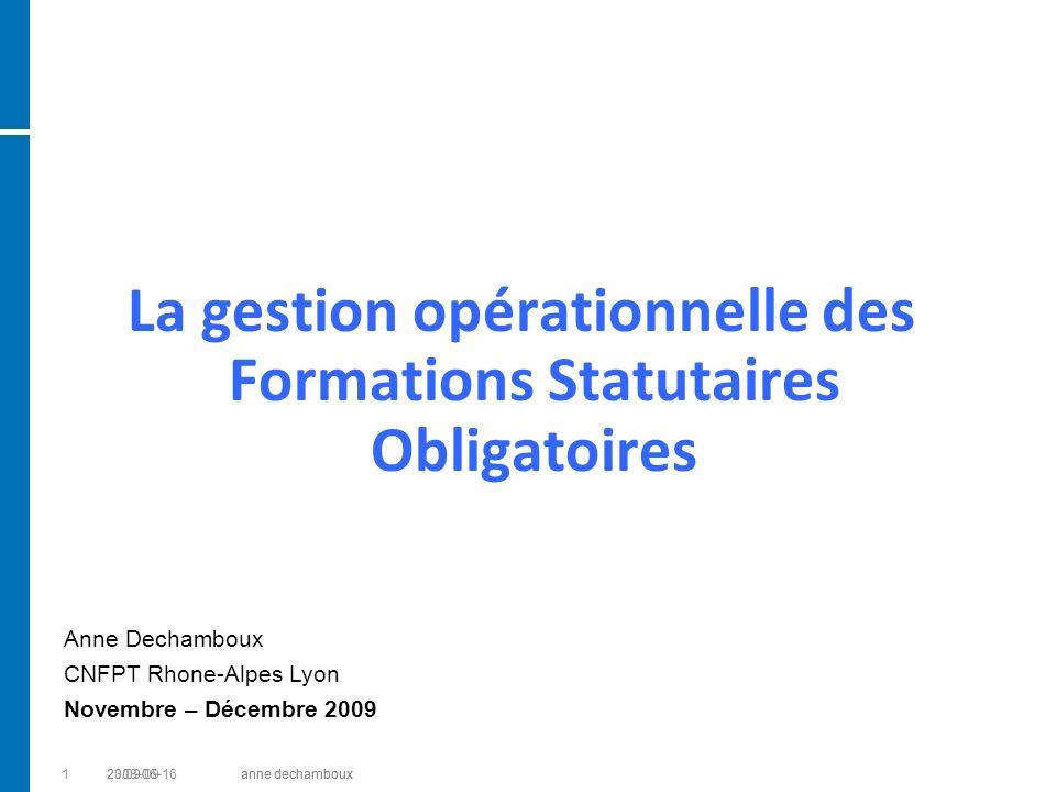 La gestion opérationnelle des Formations Statutaires Obligatoires