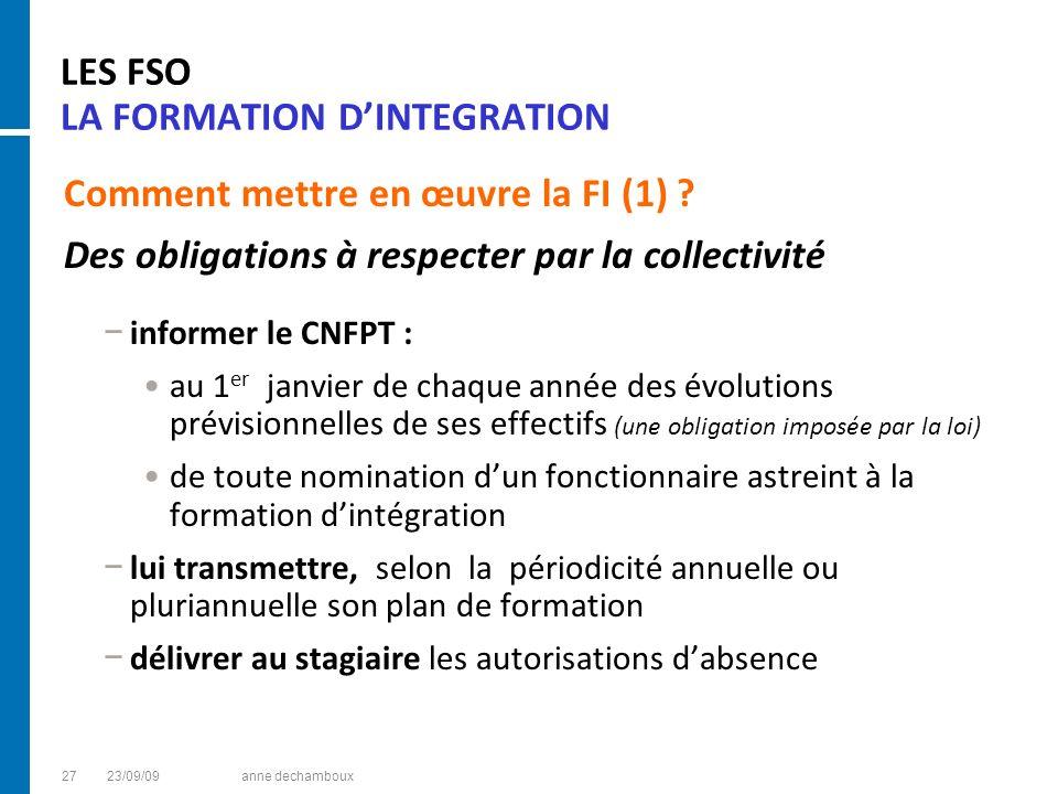 LES FSO LA FORMATION D'INTEGRATION