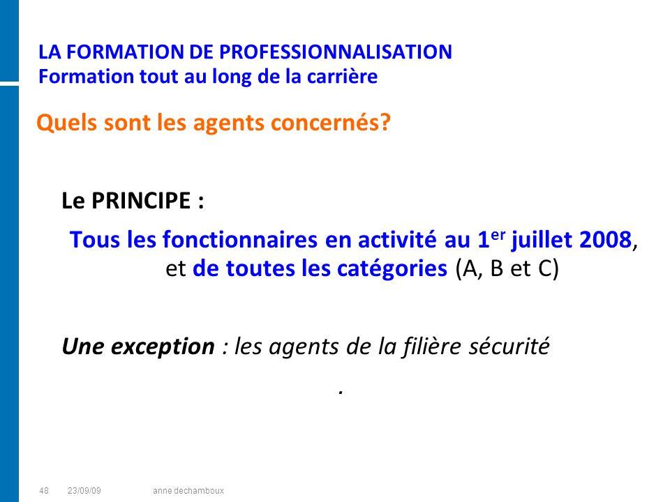 LA FORMATION DE PROFESSIONNALISATION Formation tout au long de la carrière