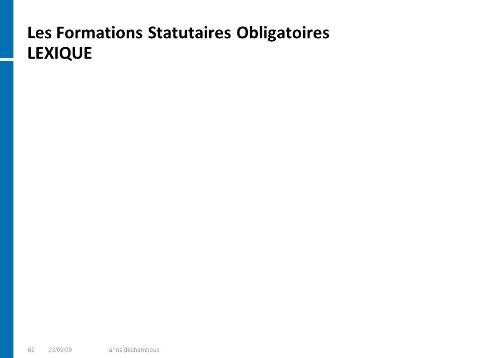 Les Formations Statutaires Obligatoires LEXIQUE