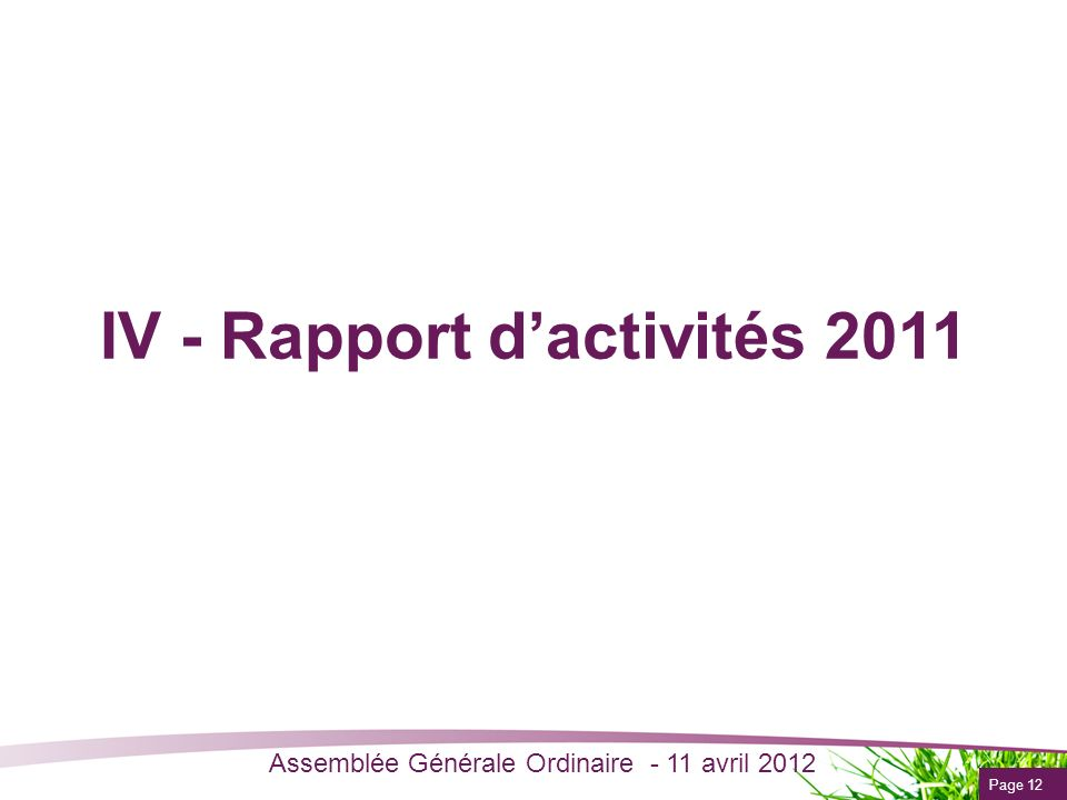 IV - Rapport d'activités 2011