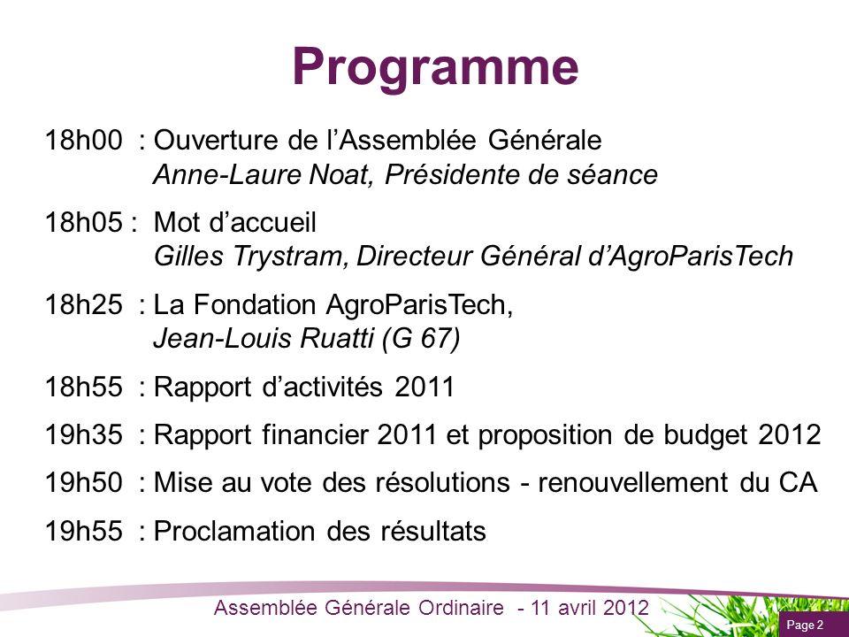 Programme 18h00 : Ouverture de l'Assemblée Générale