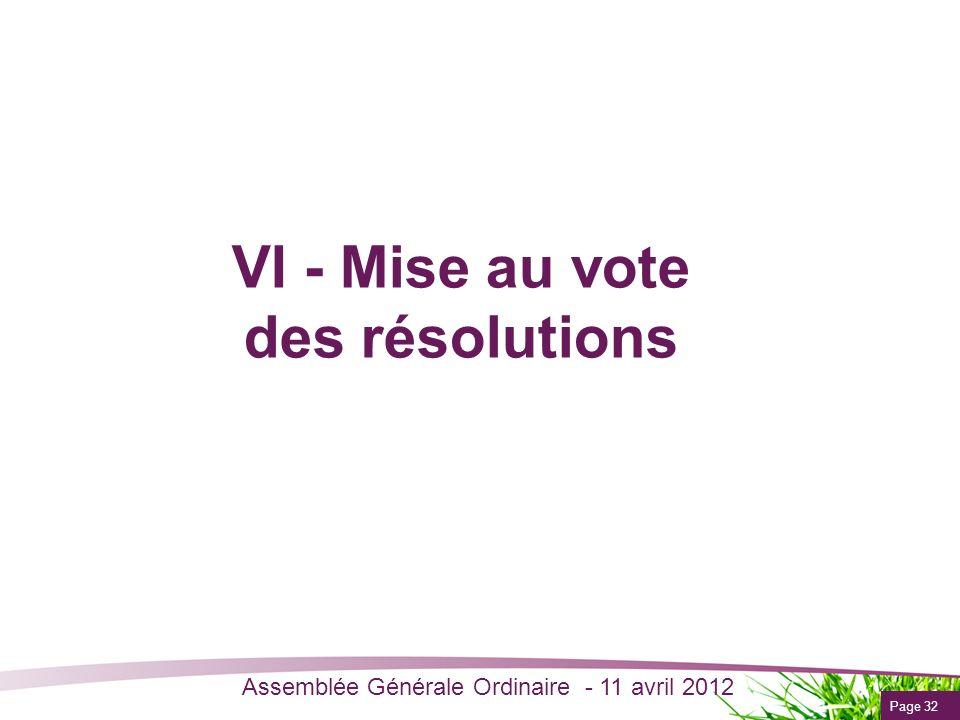 VI - Mise au vote des résolutions