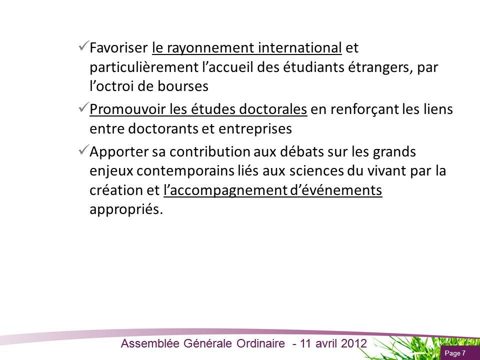 Favoriser le rayonnement international et particulièrement l'accueil des étudiants étrangers, par l'octroi de bourses