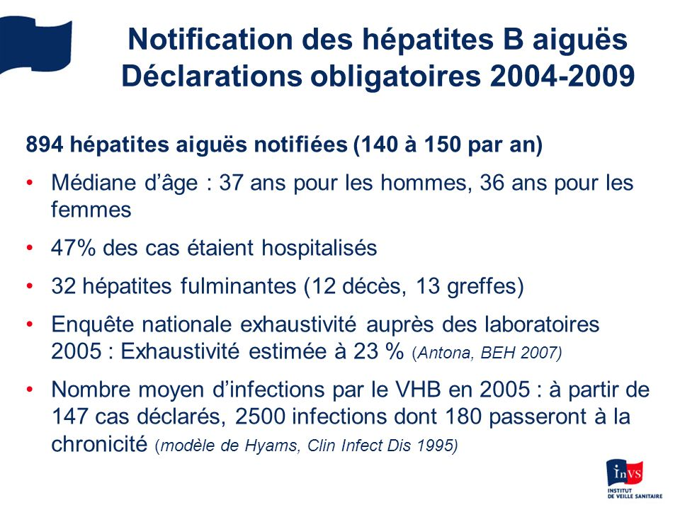 Notification des hépatites B aiguës Déclarations obligatoires 2004-2009