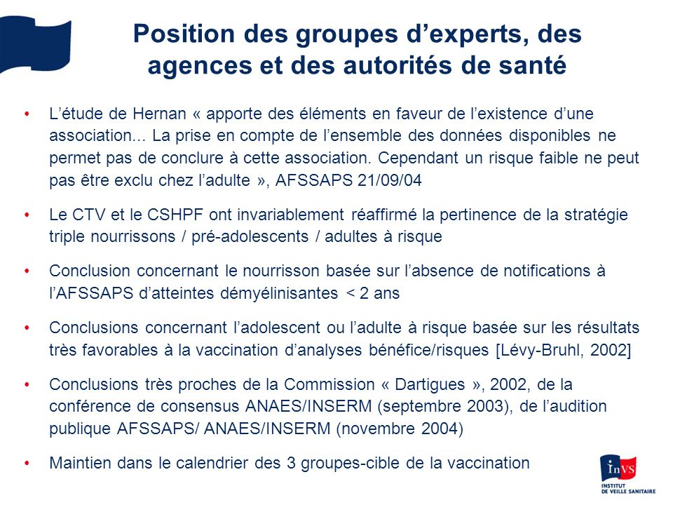 Position des groupes d'experts, des agences et des autorités de santé