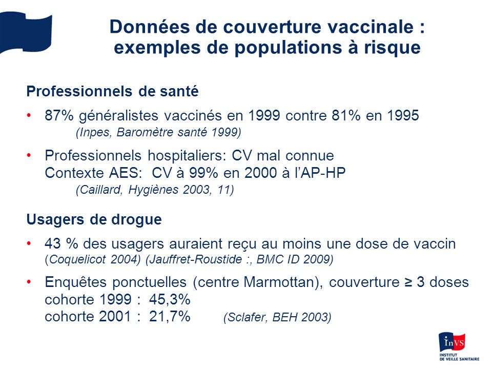 Données de couverture vaccinale : exemples de populations à risque