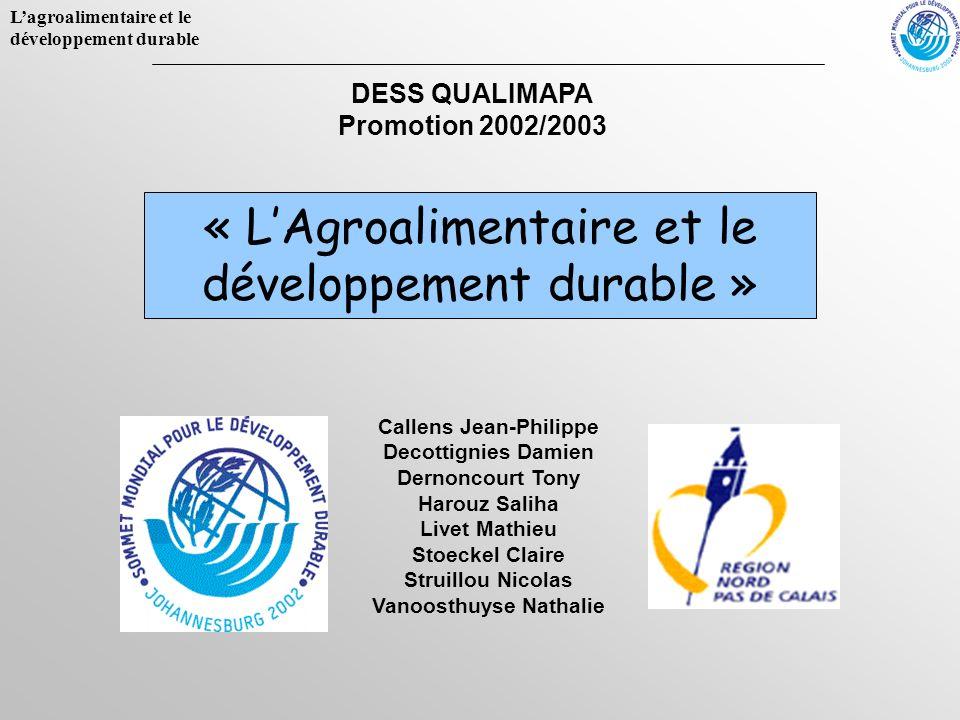 « L'Agroalimentaire et le développement durable »