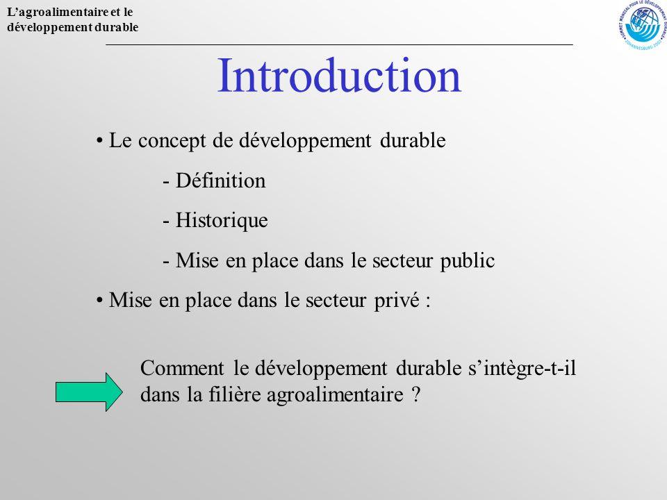 Introduction Le concept de développement durable - Définition