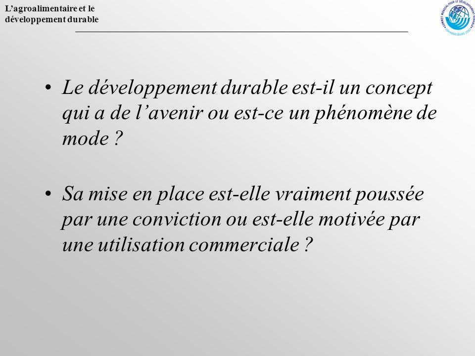 Le développement durable est-il un concept qui a de l'avenir ou est-ce un phénomène de mode