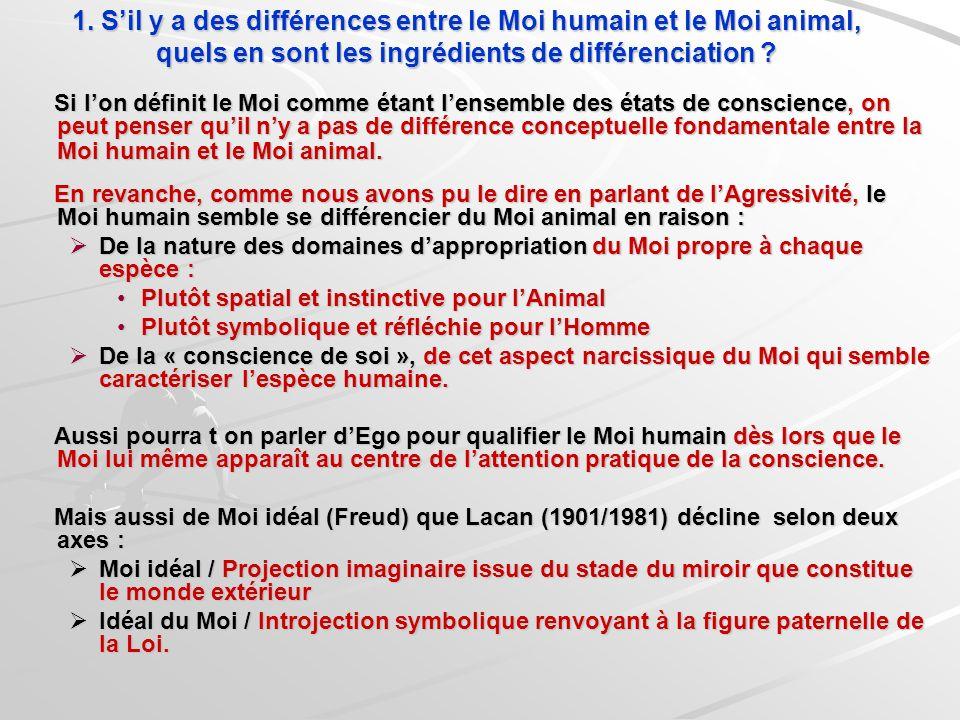 1. S'il y a des différences entre le Moi humain et le Moi animal, quels en sont les ingrédients de différenciation