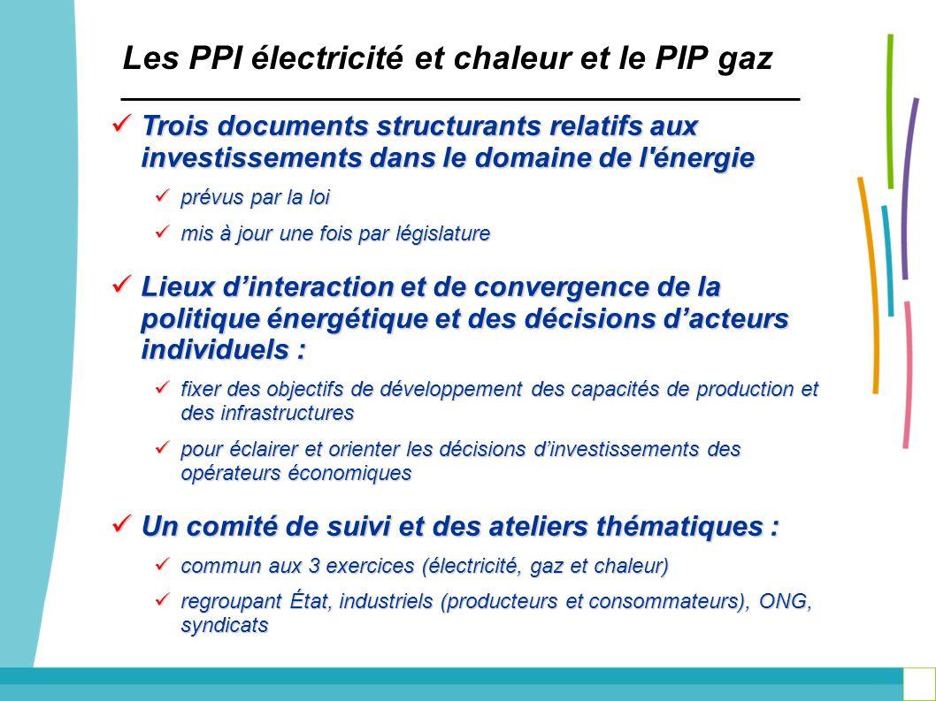 Les PPI électricité et chaleur et le PIP gaz