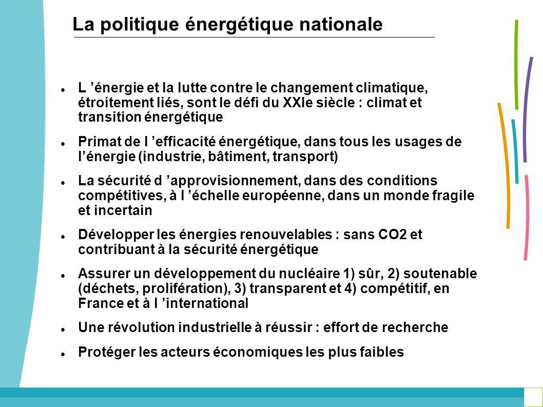 La politique énergétique nationale