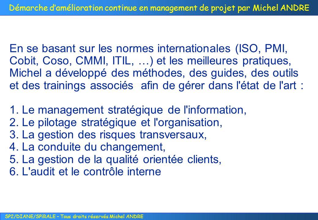 En se basant sur les normes internationales (ISO, PMI, Cobit, Coso, CMMI, ITIL, …) et les meilleures pratiques, Michel a développé des méthodes, des guides, des outils et des trainings associés afin de gérer dans l état de l art :