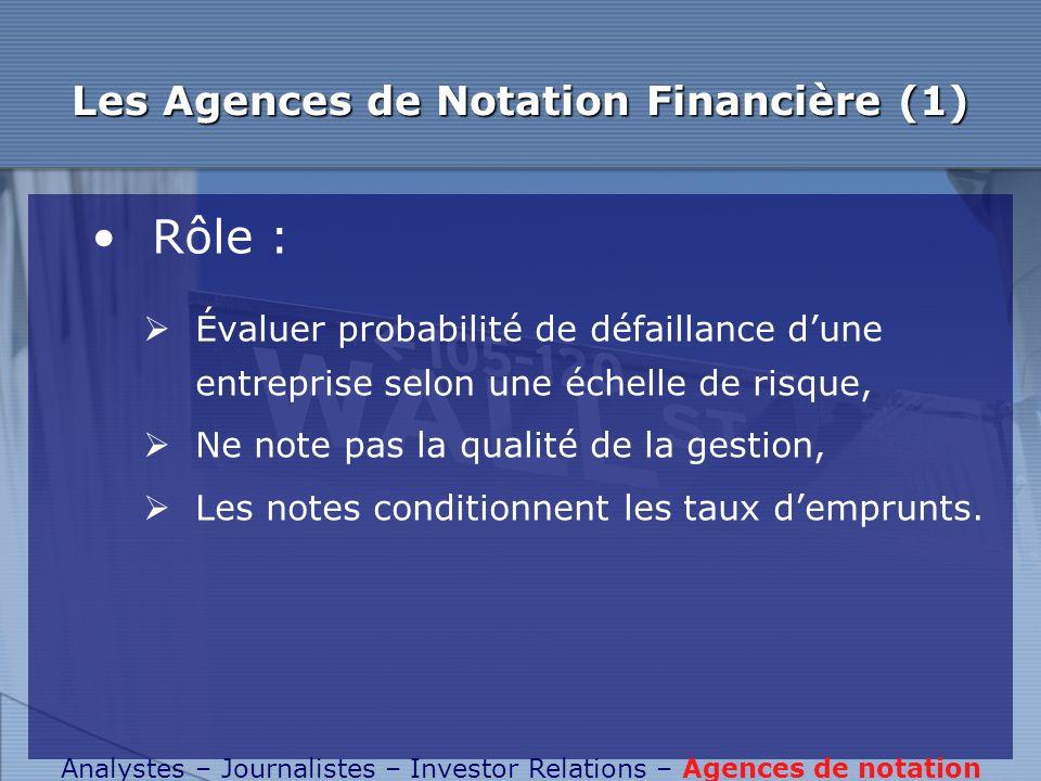 Les Agences de Notation Financière (1)
