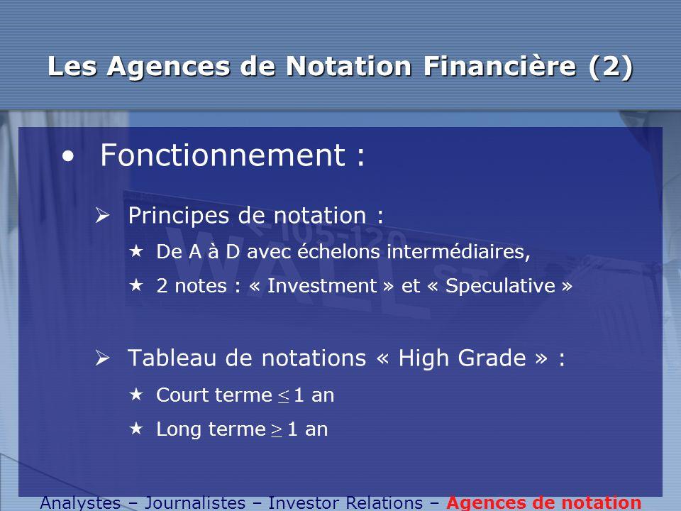 Les Agences de Notation Financière (2)