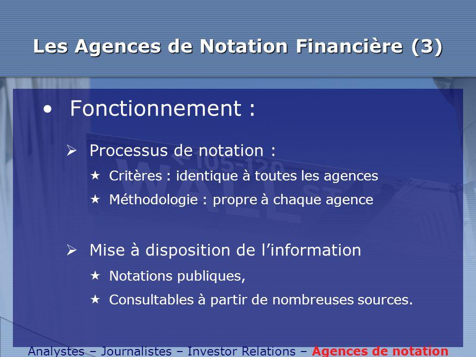 Les Agences de Notation Financière (3)