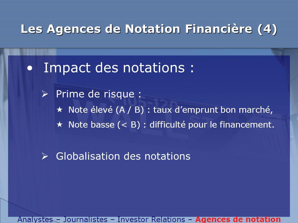 Les Agences de Notation Financière (4)