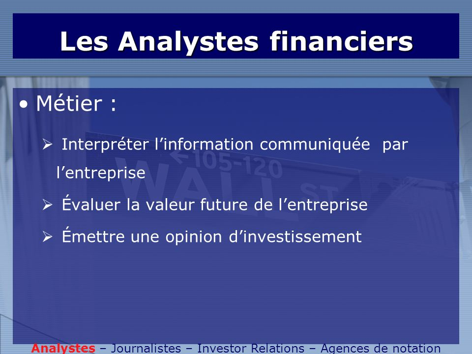 Les Analystes financiers