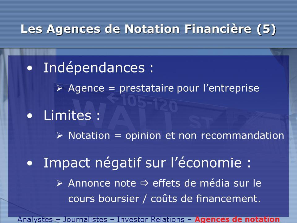 Les Agences de Notation Financière (5)