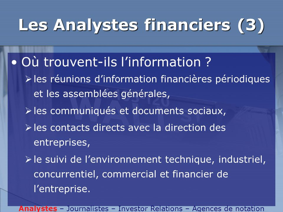 Les Analystes financiers (3)