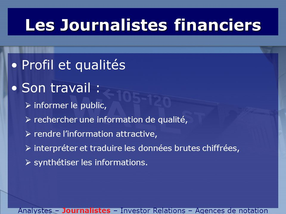 Les Journalistes financiers