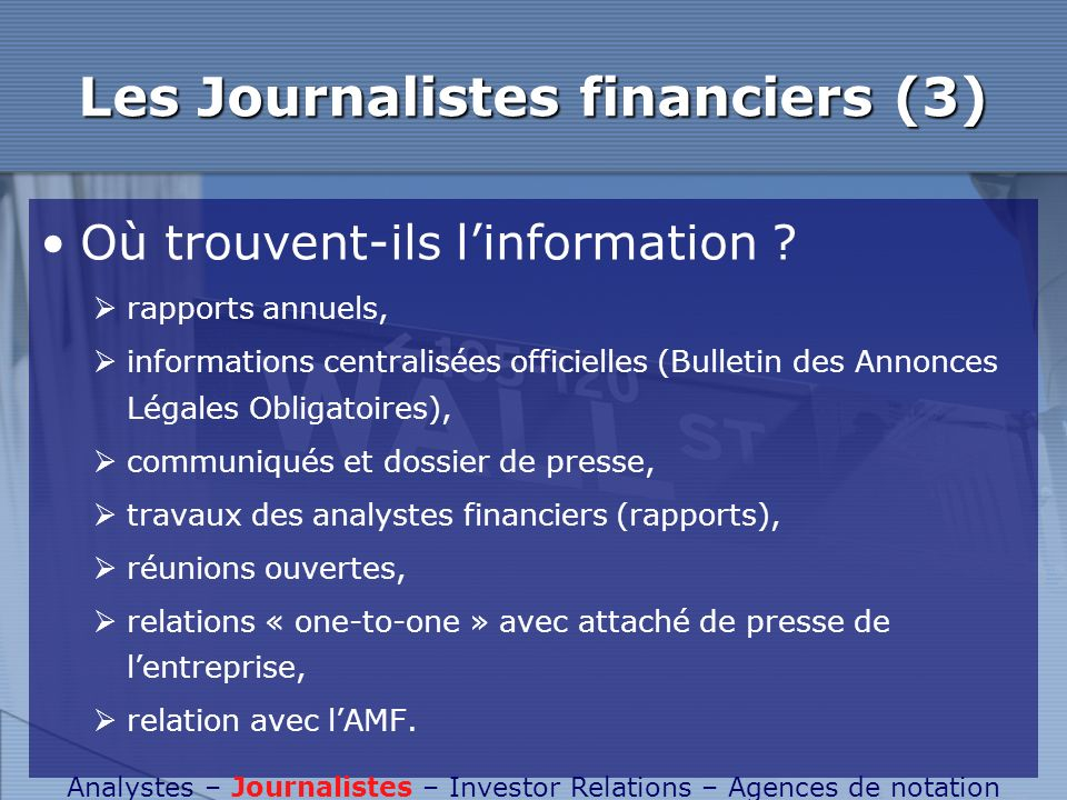 Les Journalistes financiers (3)