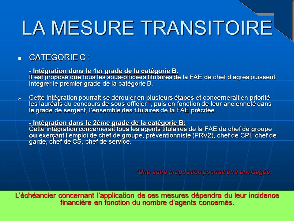 LA MESURE TRANSITOIRE