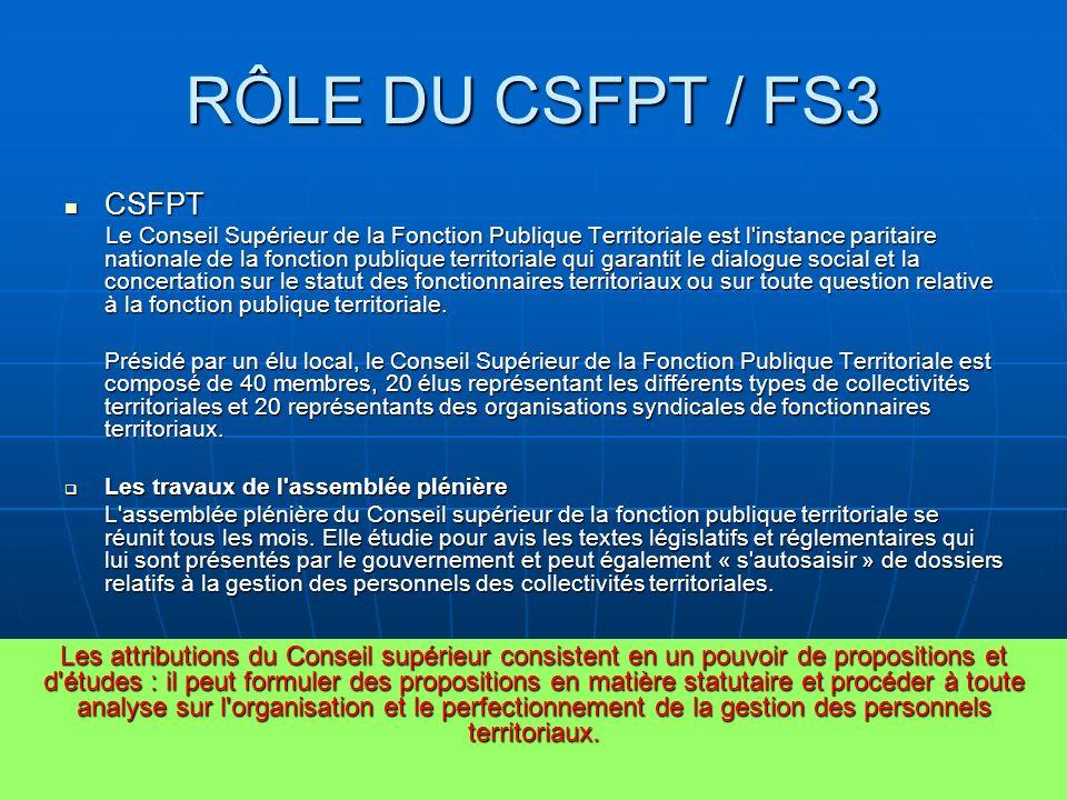 RÔLE DU CSFPT / FS3 CSFPT.