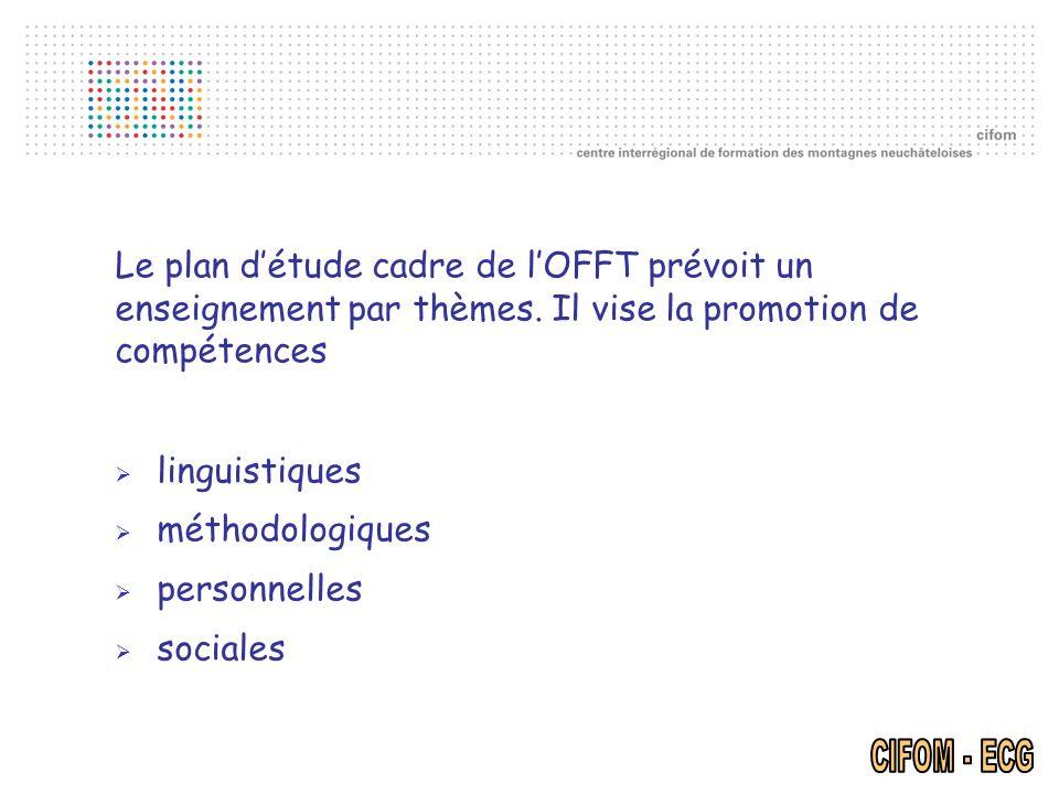 Le plan d'étude cadre de l'OFFT prévoit un enseignement par thèmes
