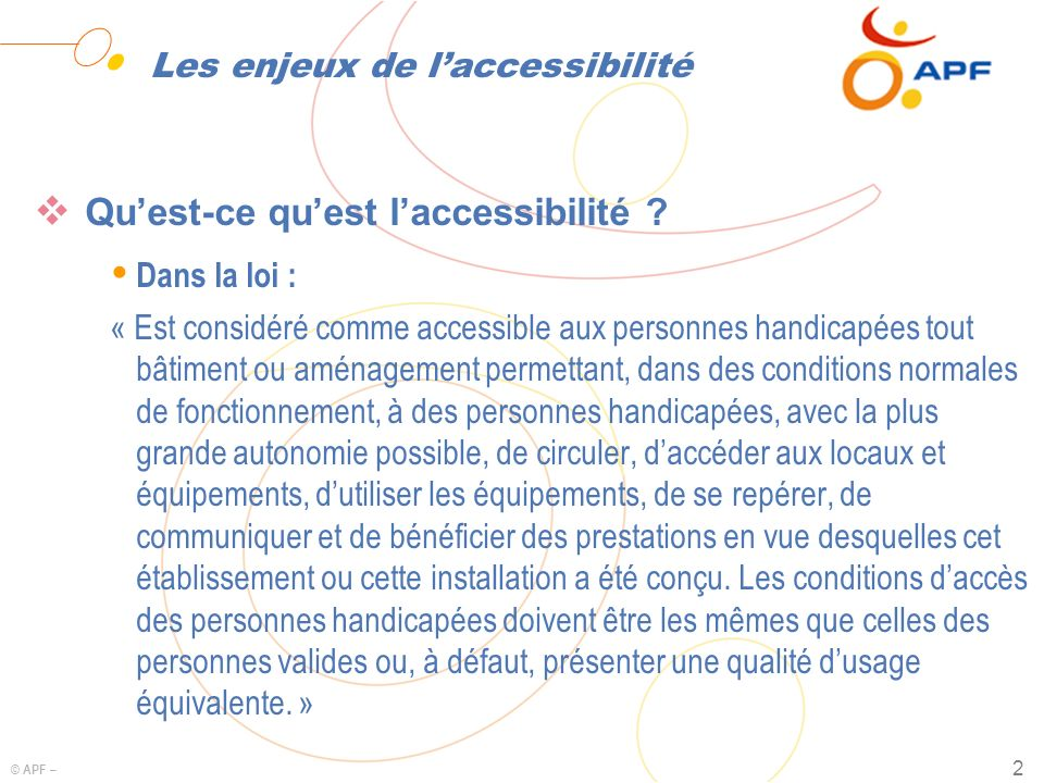 Les enjeux de l'accessibilité