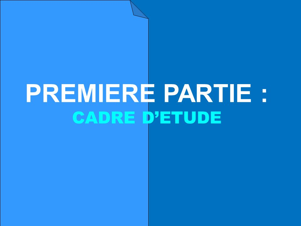 PREMIERE PARTIE : CADRE D'ETUDE