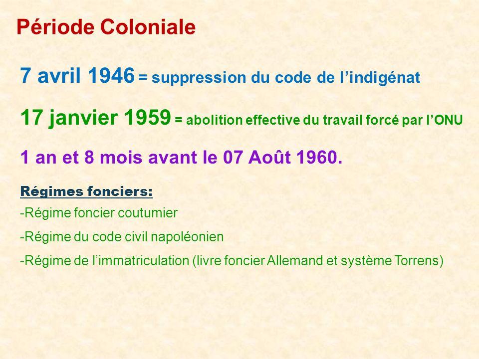 7 avril 1946 = suppression du code de l'indigénat